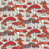 Colorful mushrooms seamless vector pattern
