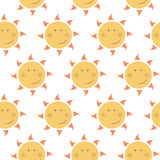childish seamless vector pattern with suns