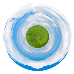 little green planet with country field