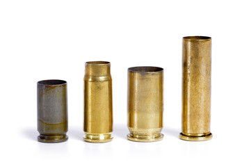 bullet cartridges big and small isolated