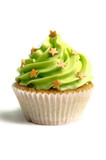 Green creamed sweet cupcake