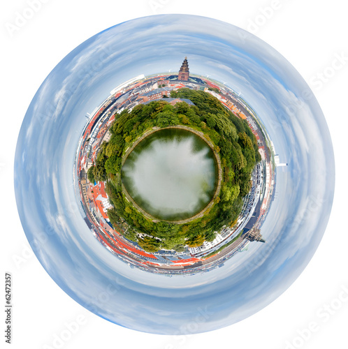 spherical view of Copenhagen city, Denmark