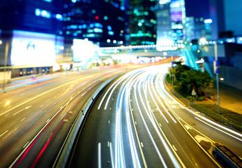 Highway in Hong Kong at night