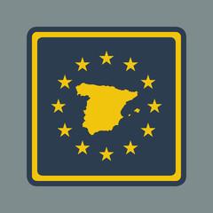 Spain European flag button