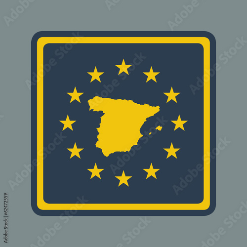 Spain European flag button