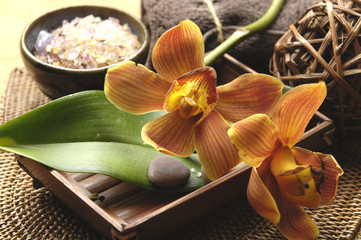 Spa welness products –orchid ,stones, towel, bowl of Spa salt