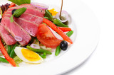 Nicoise with fresh tuna and vegetables