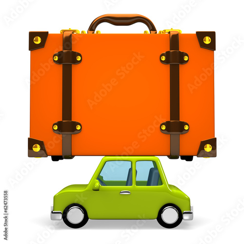 Side View Of Big Travel Luggage On Car