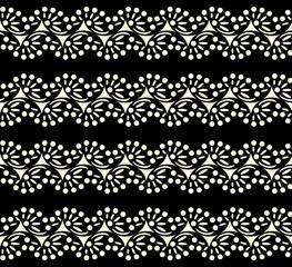 black lace seamless pattern on white background