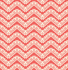 Lace seamless pattern on red background