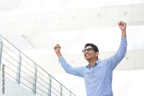 Excited Indian business man