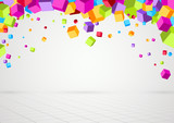 Bright colorful cubes threedimensional background
