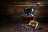 coffee mill on a wooden background