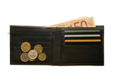 Black leather wallet with euro notes, coins and credit cards
