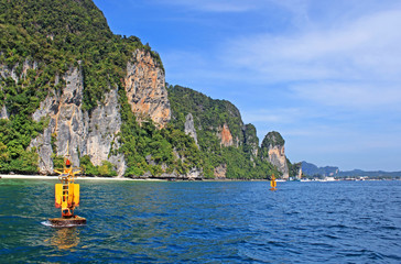 Yellow floats near Khao Phing Kanu islands in Thailand