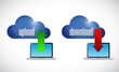upload and download files from a cloud.