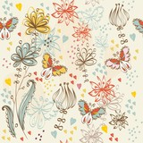 Flowers fantasy. Cute floral seamless pattern .