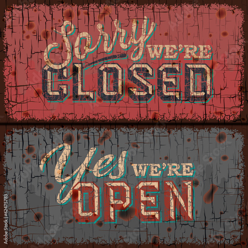 Open and Closed Sign - retail store, vector Eps10 illustration.
