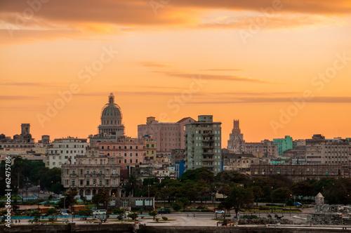 Poster Centraal-Amerika Landen Havana (Habana) in sunset, Cuba