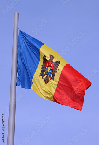 flag of Moldova over blue sky