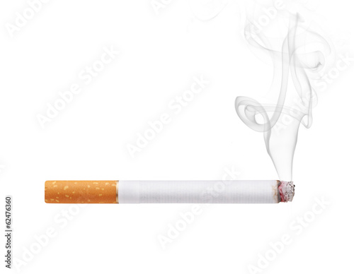 Smoking cigarette isolated on white background - 62476360