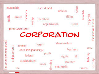 Corporation Word Cloud Concept on a Whiteboard
