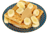 Banana on Waffles with Peanut Butter