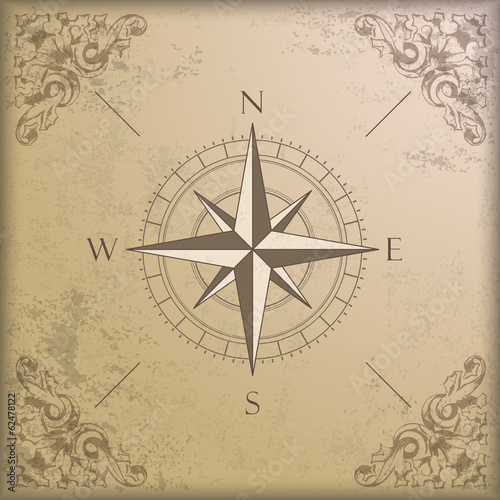 Vintage Background Edge Ornaments Compass