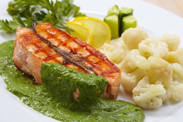 salmon steak with cauliflower