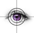 Lila Auge mit Fadenkreuz