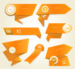 Set of orange vector progress, version, step icons. eps 10