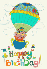 Happy birthday colorful background with funny hippopotamus