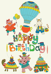 Happy birthday colorful background with funny animals