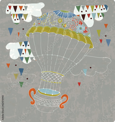 hot Air Balloon in sky with tea cup and abstract clouds