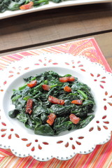 Spinach with bacon