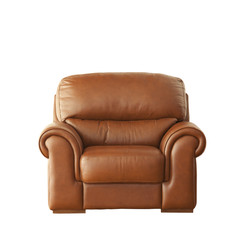 Brown elegant armchair isolated on white