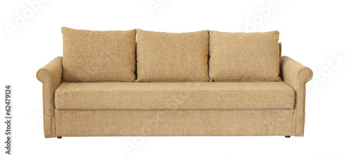 Light brown sofa (couch) isolated on white