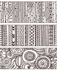 Set of unique seamless pattern and borders.