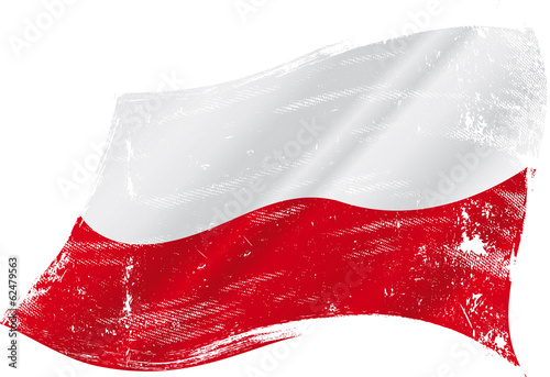 Polish grunge flag - 62479563