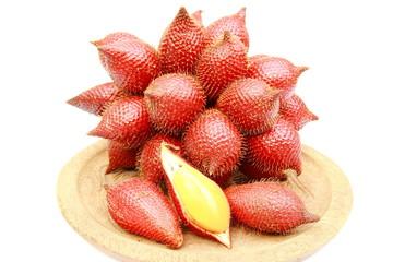 Close up zalacca fruit on white background.