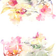Floral watercolor  background. Roses.