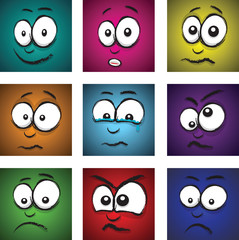 cartoon coloured faces