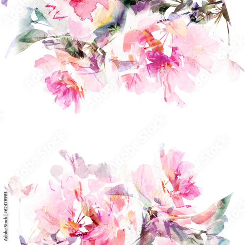 Floral watercolor background. Roses. - 62479993