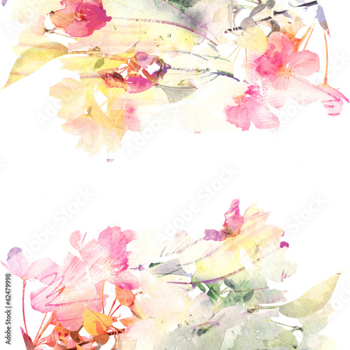 Papiers peints Fleur Floral watercolor background. Roses.