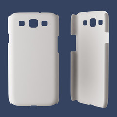 White plastic case mock-up for smartphone. Isolated on dark blue