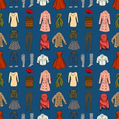 Fashion cartoon seamless background