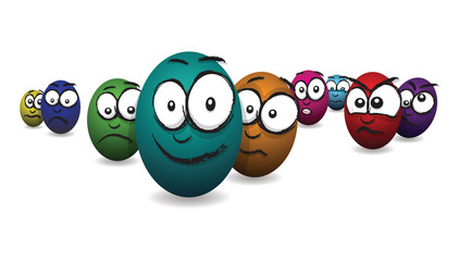cartoon coloured egg faces jumping