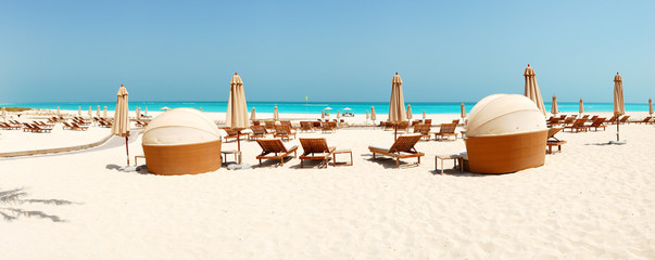 Panorama of the beach at luxury hotel, Abu Dhabi, UAE