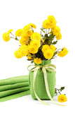 Yellow flowers, chrysanthemum flowers in a vase.
