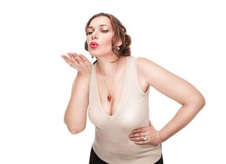 Beautiful plus size woman sending kiss
